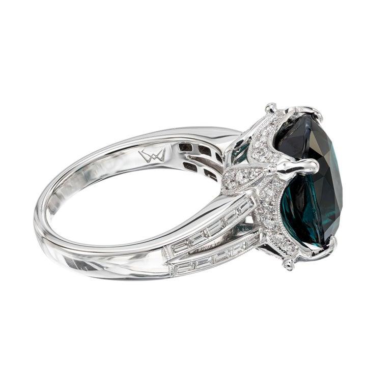 Women's GIA Certified 6.90 Carat Tourmaline Diamond Platinum Ring