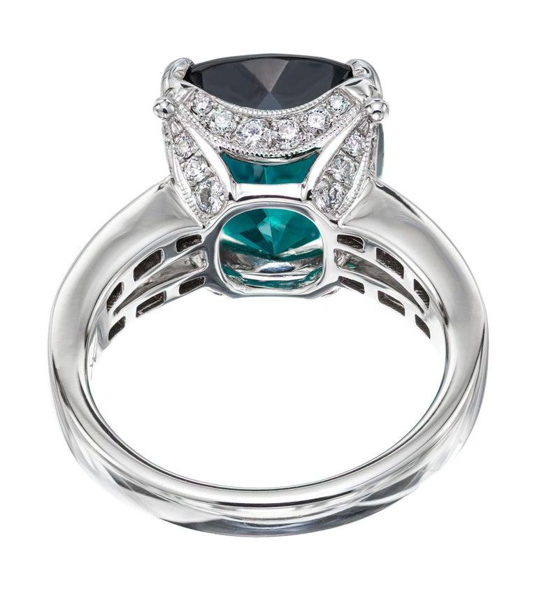 GIA Certified 6.90 Carat Tourmaline Diamond Platinum Ring 1