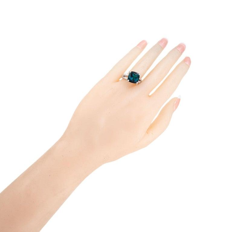 GIA Certified 6.90 Carat Tourmaline Diamond Platinum Ring 4