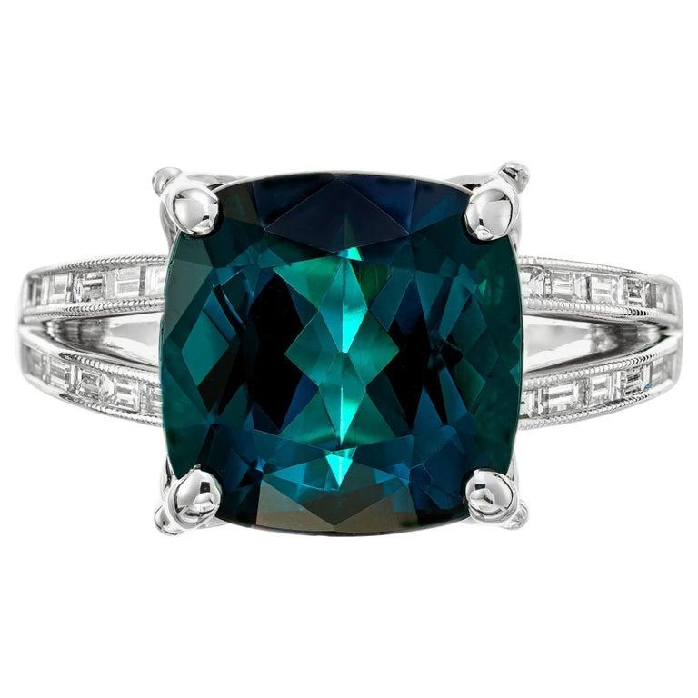 GIA Certified 6.90 Carat Tourmaline Diamond Platinum Ring