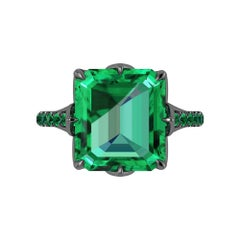 GIA Certified 6.95 Carat Colombian Emerald Black 18K black Gold Maleficent Ring