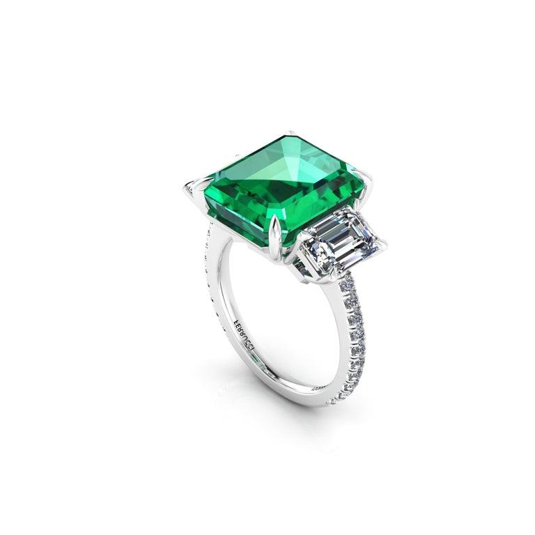 GRS Certified 6.31 Carat Emerald Cut Colombian Emerald Diamond Platinum Ring In New Condition For Sale In Lake Peekskill, NY