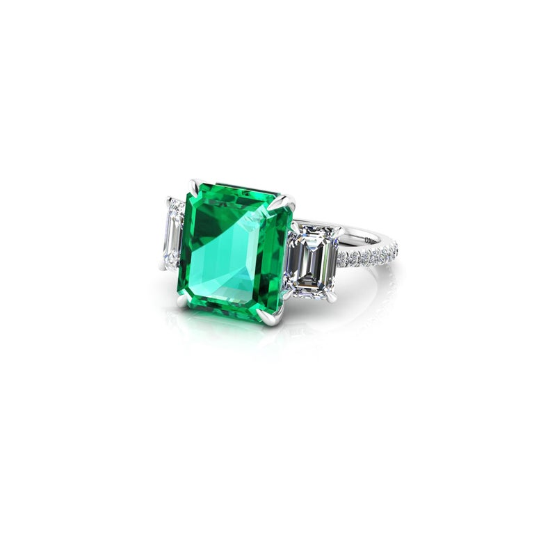 Women's GRS Certified 6.31 Carat Emerald Cut Colombian Emerald Diamond Platinum Ring For Sale