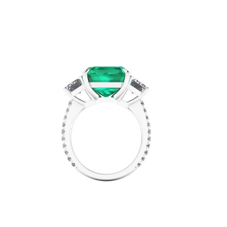 GRS Certified 6.31 Carat Emerald Cut Colombian Emerald Diamond Platinum Ring For Sale 1