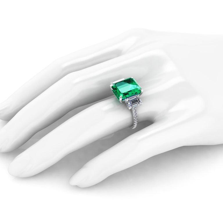 GRS Certified 6.31 Carat Emerald Cut Colombian Emerald Diamond Platinum Ring For Sale 3