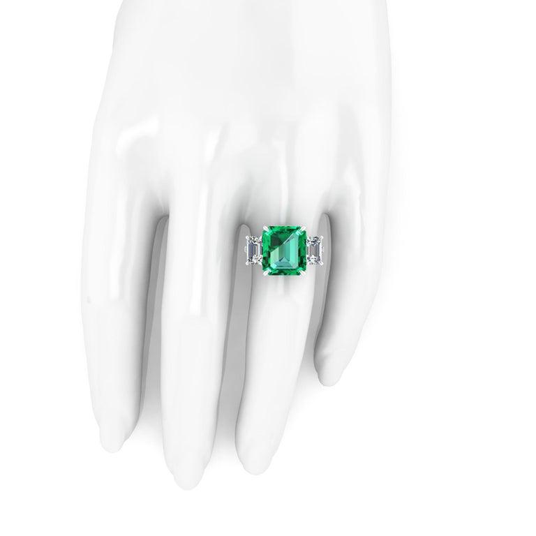 GRS Certified 6.31 Carat Emerald Cut Colombian Emerald Diamond Platinum Ring For Sale 4