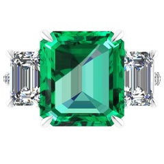 GRS Certified 6.31 Carat Emerald Cut Colombian Emerald Diamond Platinum Ring