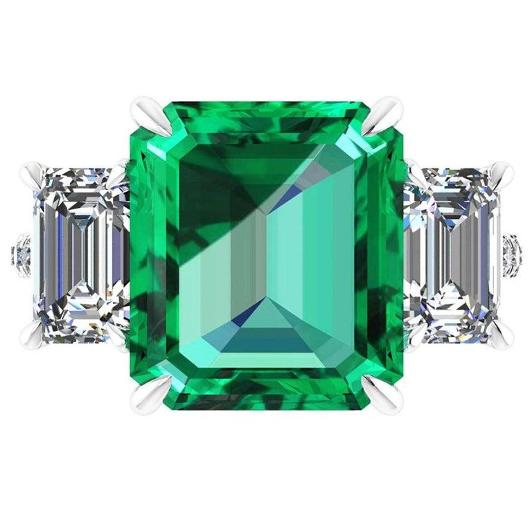 GRS Certified 6.31 Carat Emerald Cut Colombian Emerald Diamond Platinum Ring For Sale