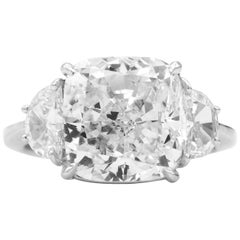 GIA Certified 7 Carat Cushion Diamond Platinum 3-Stone Diamond Engagement Ring
