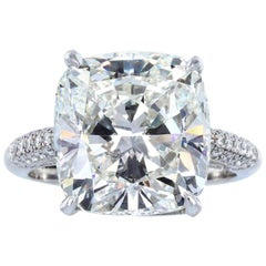 GIA Certified 7 Carat Cushion Modified Brilliant Cut Diamond Ring