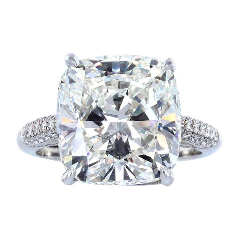 GIA Certified 6 Carat Cushion Modified Brilliant Cut Diamond Ring