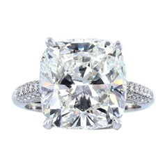 GIA Certified 6 Carat Cushion Modified Brilliant Cut Diamond Ring