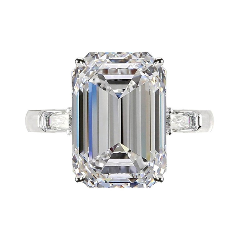 GIA Certified 7 Carat Emerald Cut Diamond Ring VS1 E Color For Sale