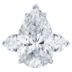 GIA Certified 7 Carat Pear Cut Diamond Ring 3 EX