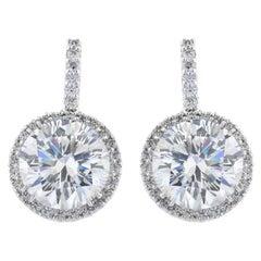 FLAWLESS D Color GIA 5 Carat Round Brilliant Cut Diamond Dangle Halo Earrings