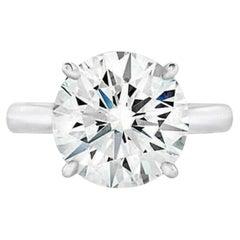 GIA Certified 7 Carat Round Brilliant Cut Diamond Platinum Ring