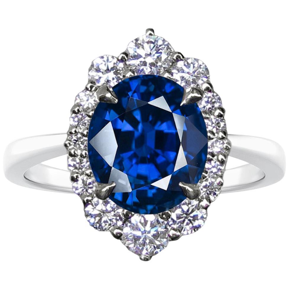 GRS 5.54 Carat Royal Blue Sapphire Round Diamond Solitaire Ring 18 Karat