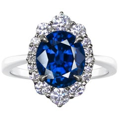 GRS 5.54 Carat Royal Blue Sapphire Round Diamond Solitaire Ring 18 Karat