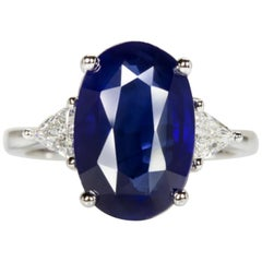 GIA Certified 7 Carat Royal Blue Sapphire Trillion Diamond Ring