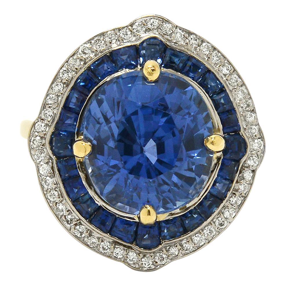 GIA Certified 7 Carat Sapphire Engagement Ring Cocktail Diamond Halo Ceylon Blue