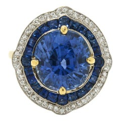 GIA Certified 7 Carat Sapphire Engagement Ring Cocktail Diamond Halo Ceylon Blue
