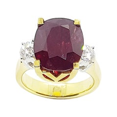 GIA Certified 7 Carat Unheated Ruby with Diamond Ring Set in 18 Karat Gold