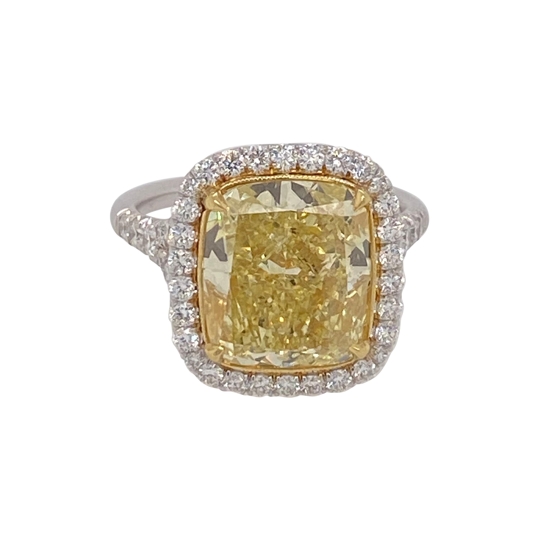 GIA Certified 7 Plus Carat Fancy Yellow Diamond Engagement Ring