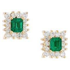 GIA Certified .70 Carat Emerald Diamond Halo Yellow Gold Earrings