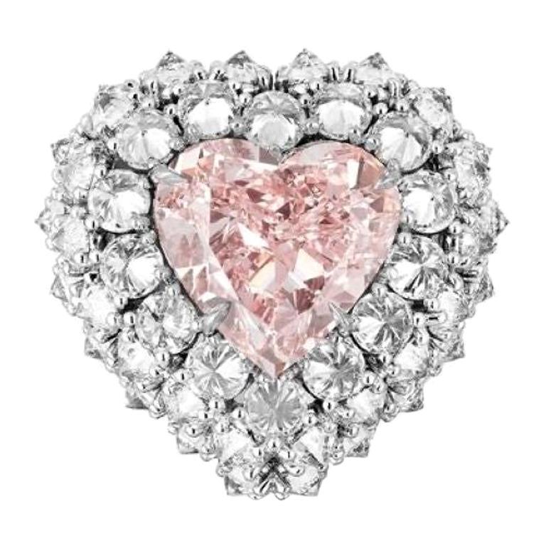 GIA Certified 7.0 Carat Heart Shape Pink Diamond Cocktail Ring
