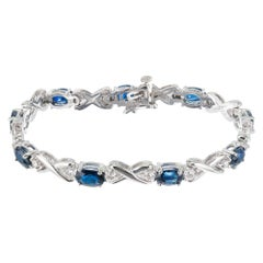 GIA Certified 7.00 Carat Blue Sapphire Diamond White Gold Bracelet