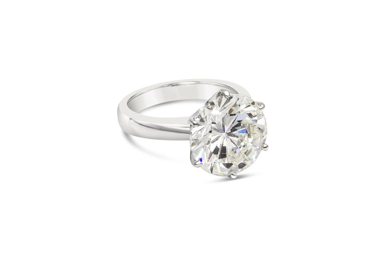 A classic and timeless engagement ring style showcasing a 7.00 carat round brilliant diamond certified by GIA as L color, SI2 clarity. The diamond is set in a six-prong setting made in 18k white gold.   Style available in different price ranges.