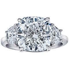GIA Certified 7.01 Carat Cushion Cut 3-Stone Ring