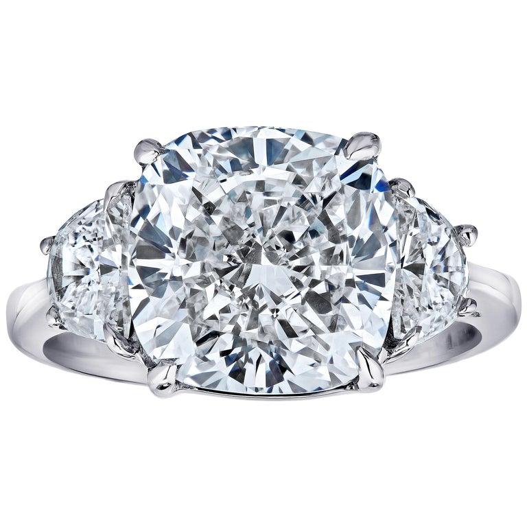 Gia Certified 7 01 Carat Cushion Cut 3 Stone Ring
