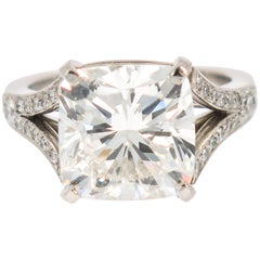 GIA Certified 7.01 Carat Cushion Cut Diamond Engagement Ring
