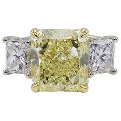 GIA Certified 7.01 Carat Light Yellow Platinum Diamond 3-Stone Engagement Ring