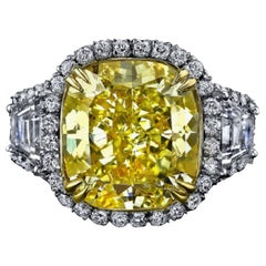 GIA Certified 5 Carat Fancy Intense Yellow Cushion Cut Ring