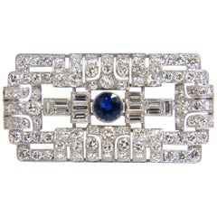 GIA Certified 7.02 Carat Natural Round Sapphire Diamond Platinum Brooch Art Deco