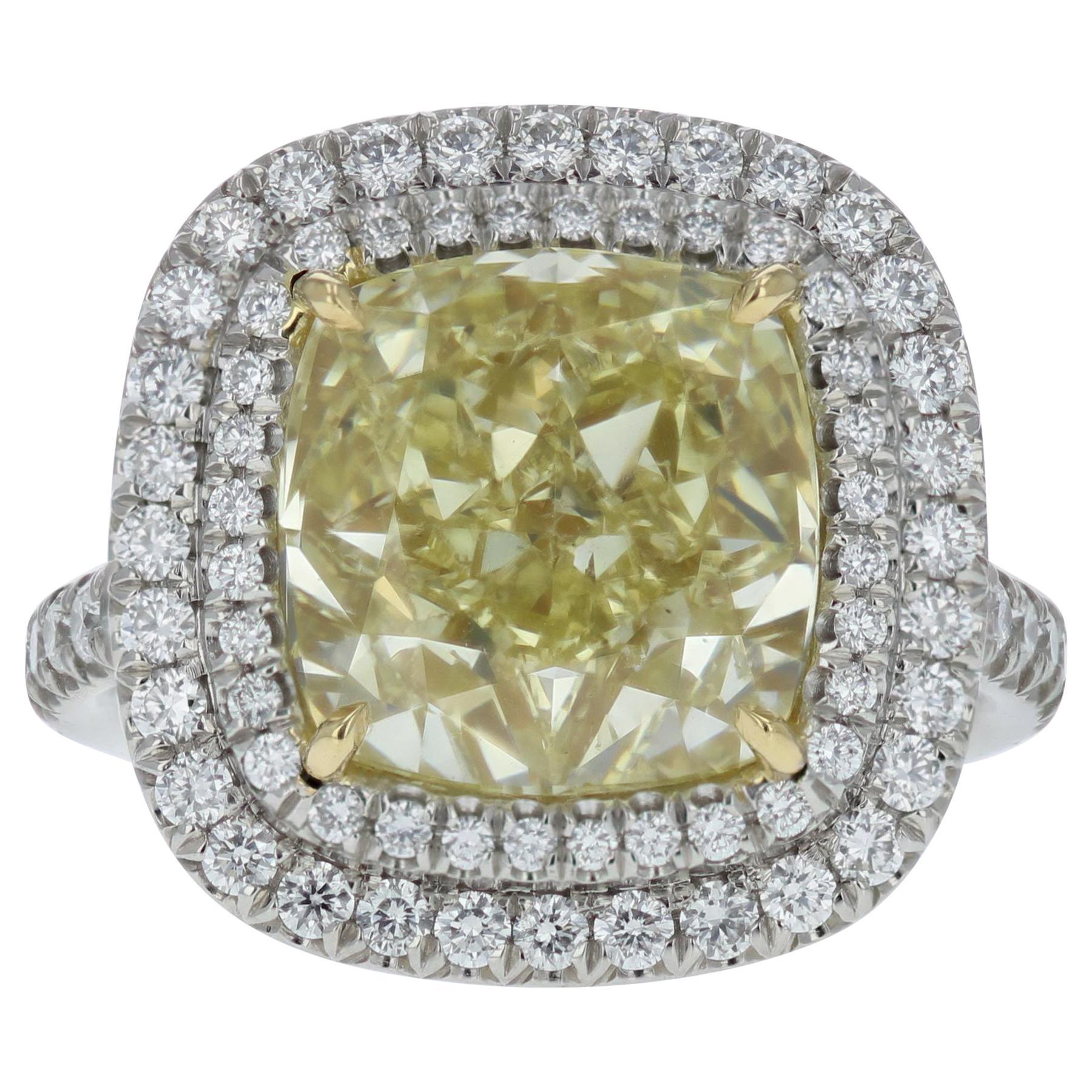 GIA Certified 7.02 Carat Yellow Cushion Cut Diamond Cocktail Ring