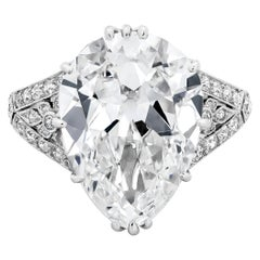 GIA Certified 7.03 Carat Antique Pear-Shape Diamond Ring