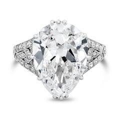 GIA Certified 7.03 Carat Antique Pear-Shape Diamond Ring
