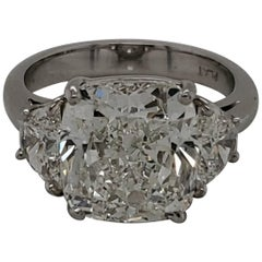 GIA Certified 7.03 Carat Cushion Cut Diamond J SI2 Three-Stone Ring