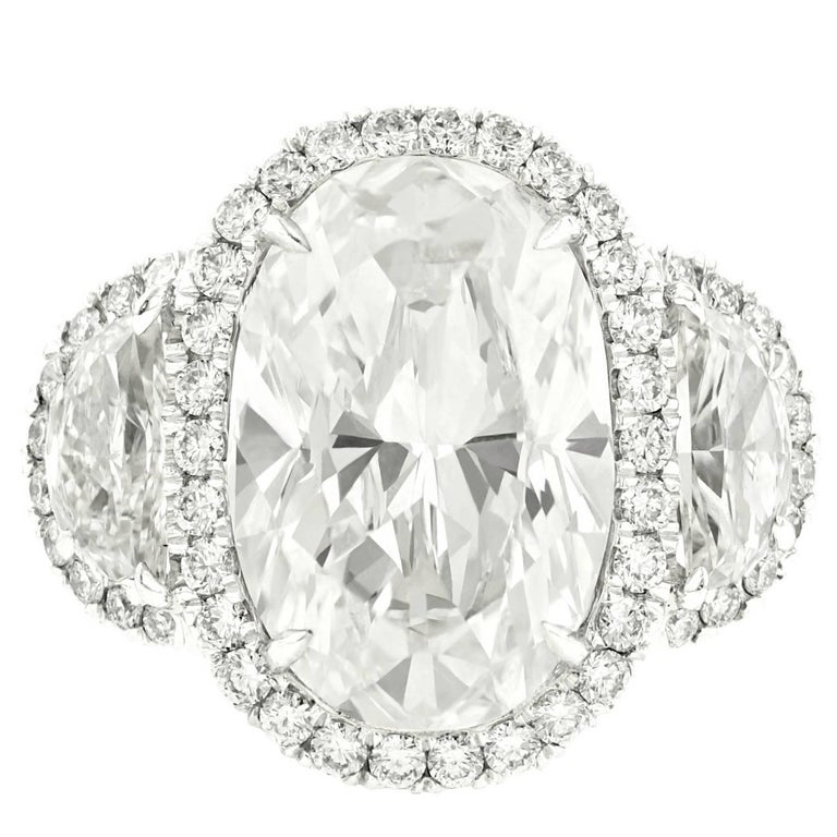 GIA Certified 7.03 Carat Oval Shape Diamond Engagement Ring