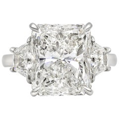 GIA Certified 7.03 Carat Radiant Cut Diamond Three-Stone Engagement Ring
