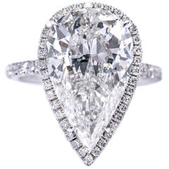 GIA Certified 7.04 Pear HSI2 in Handmade Halo Ring