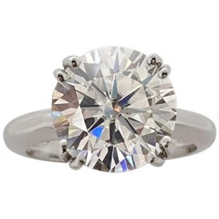 GIA Certified 5 Carat Round Brilliant Cut Diamond Platinum Solitaire Ring