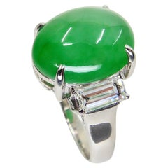GIA Certified 7.06 Cts Jade & Diamond 3 Stone Vintage Ring, Light Apple Green