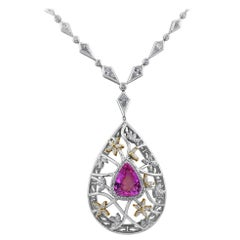 GIA Certified 7.07 Carat Pink Sapphire Necklace Set in White Gold