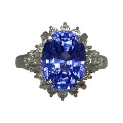GIA Certified 7.08 Carat Untreated Color Change Sapphire & Diamond Cocktail Ring
