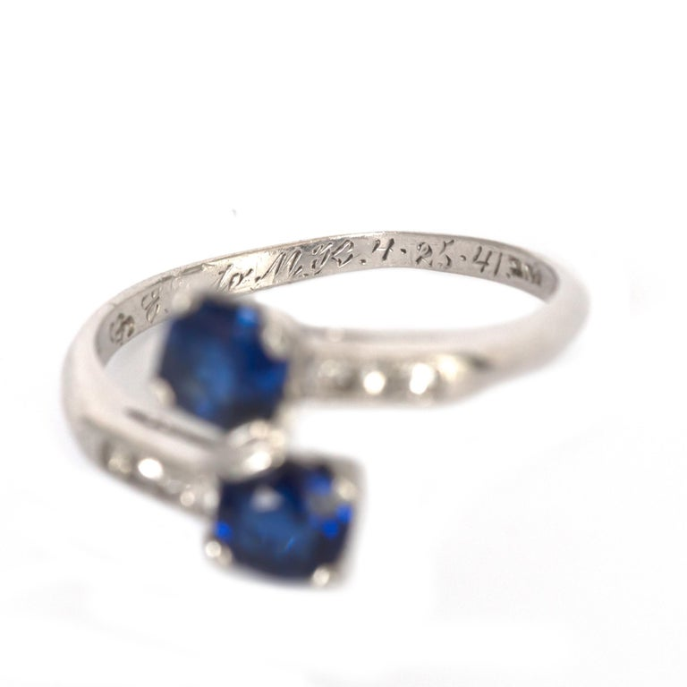 GIA Certified .71 Carat Sapphire Platinum Engagement Ring For Sale 1