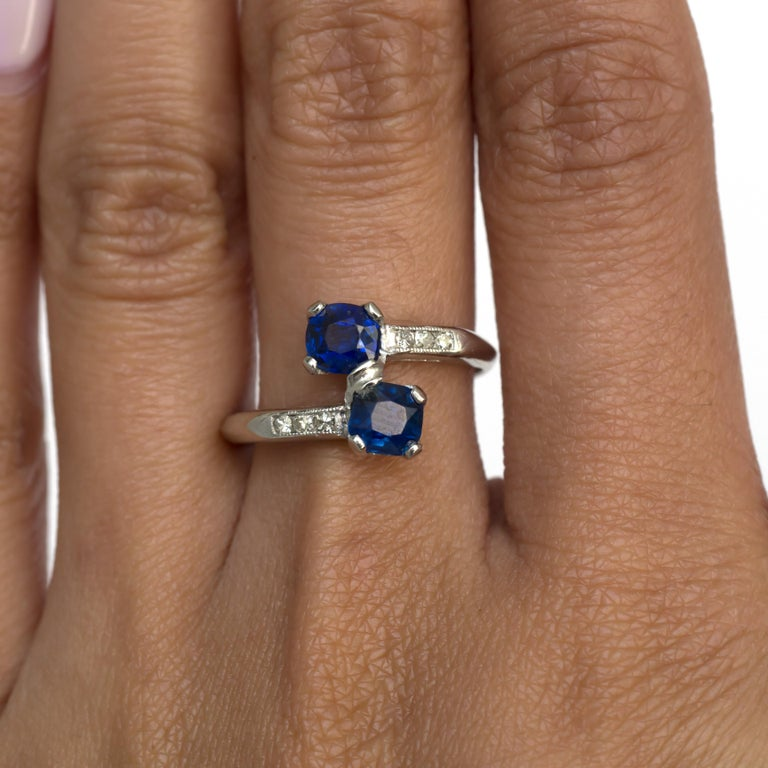 GIA Certified .71 Carat Sapphire Platinum Engagement Ring For Sale 3